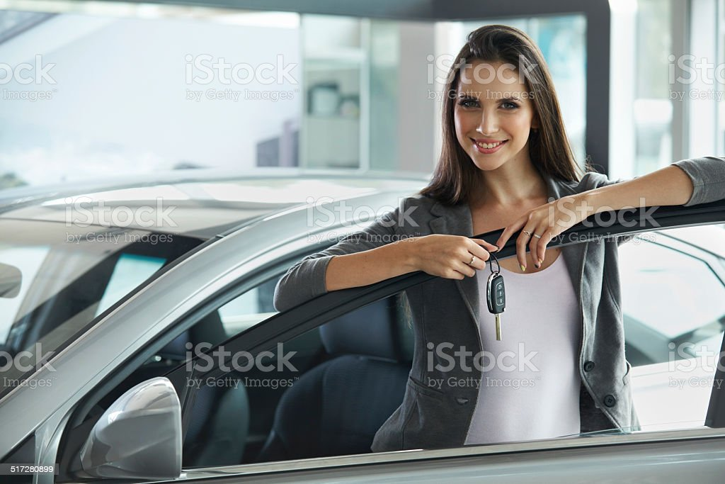 Woman Driver Holding Car Keys. stock photo