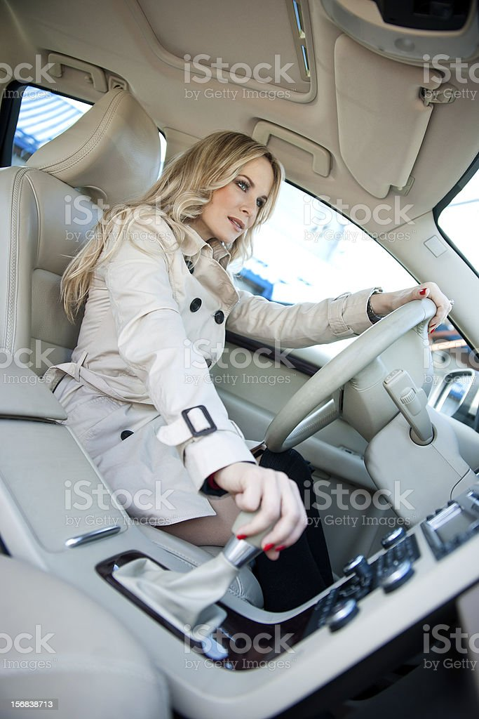 woman driver in car royalty-free stock photo