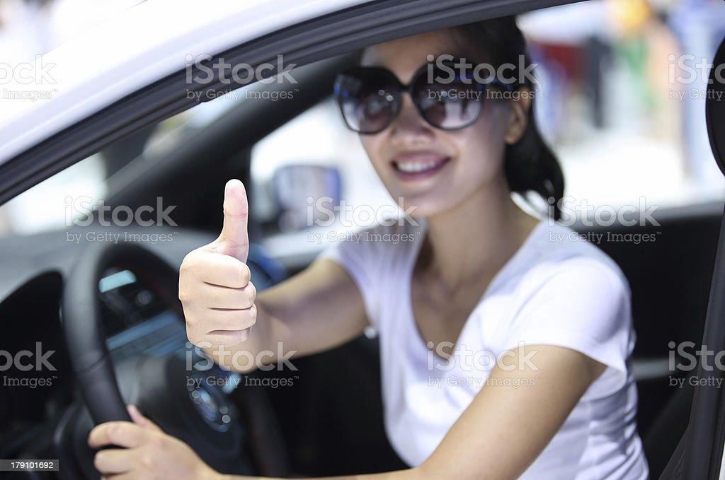 woman driver thumb up royalty-free stock photo