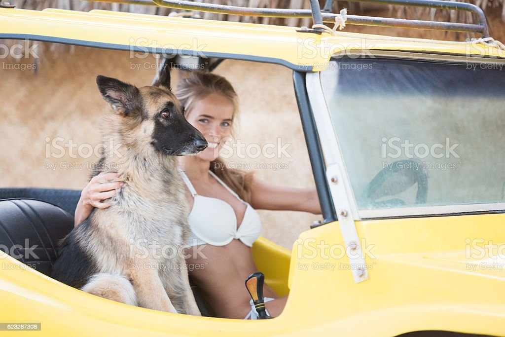 Woman driving a Beach Buggy with her Dog stock photo