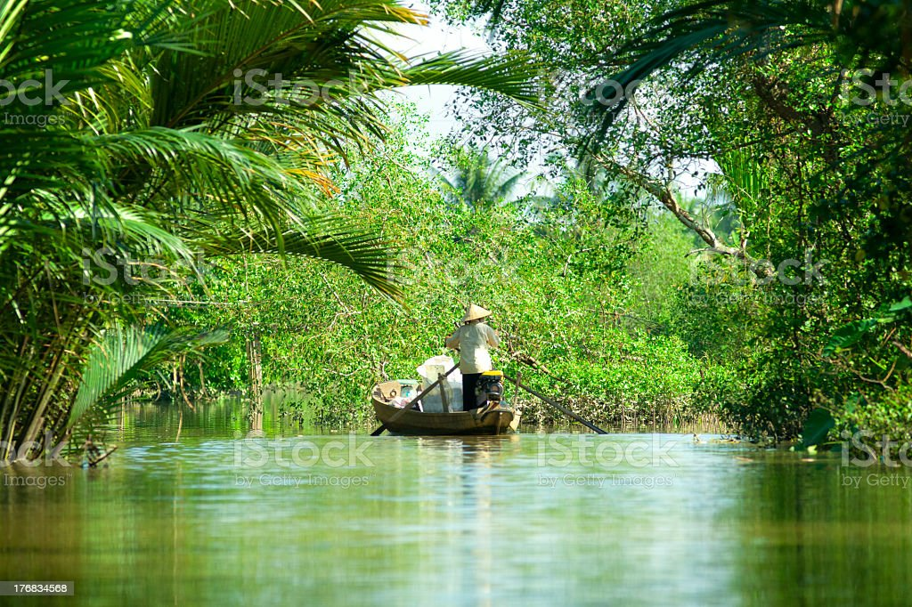 Woman driving a boat in the mekong delta. Vietnam. stock photo