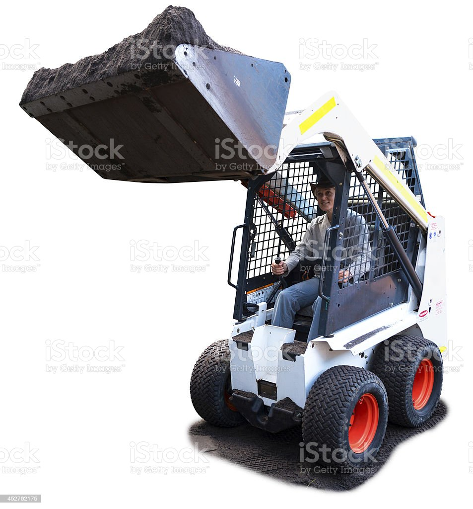 Woman Driving a Bobcat loader, isolated on white stock photo