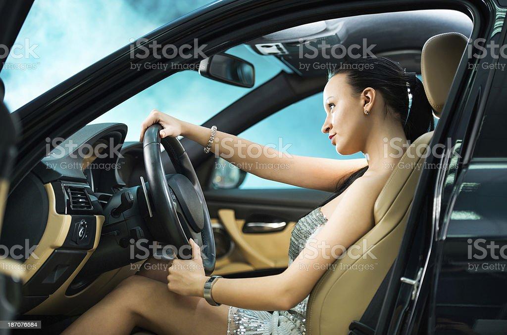 Woman driving a car. royalty-free stock photo