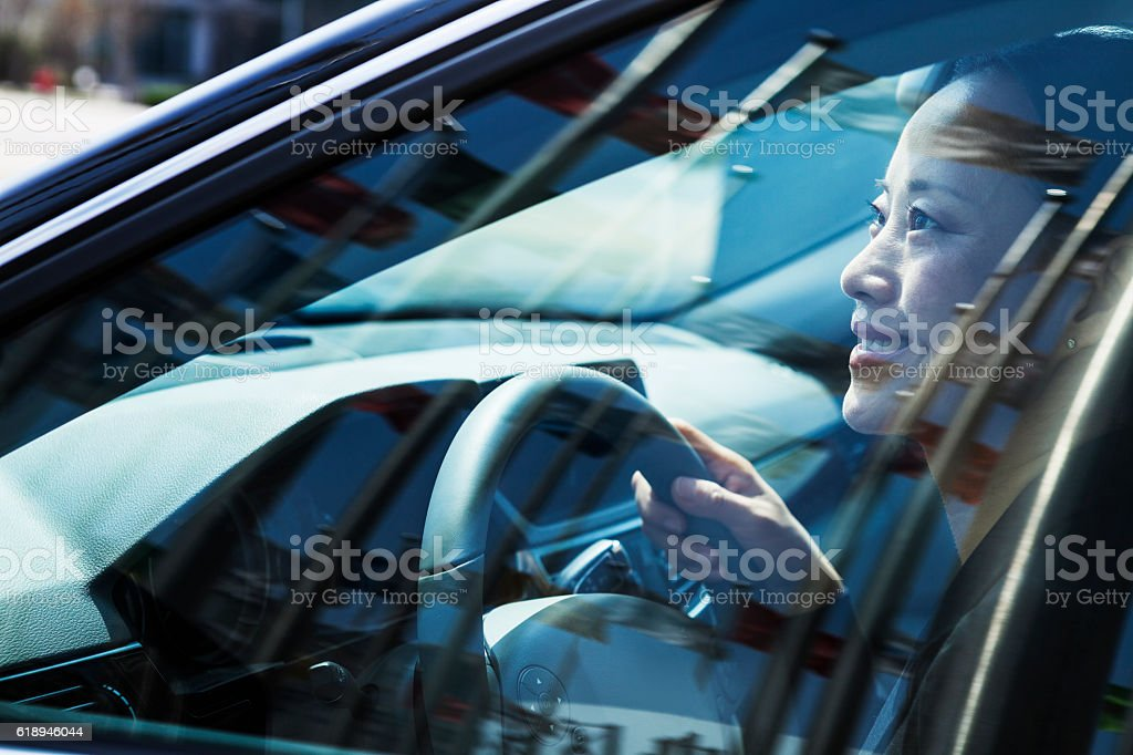 Woman driving car with flags reflection in windows stock photo