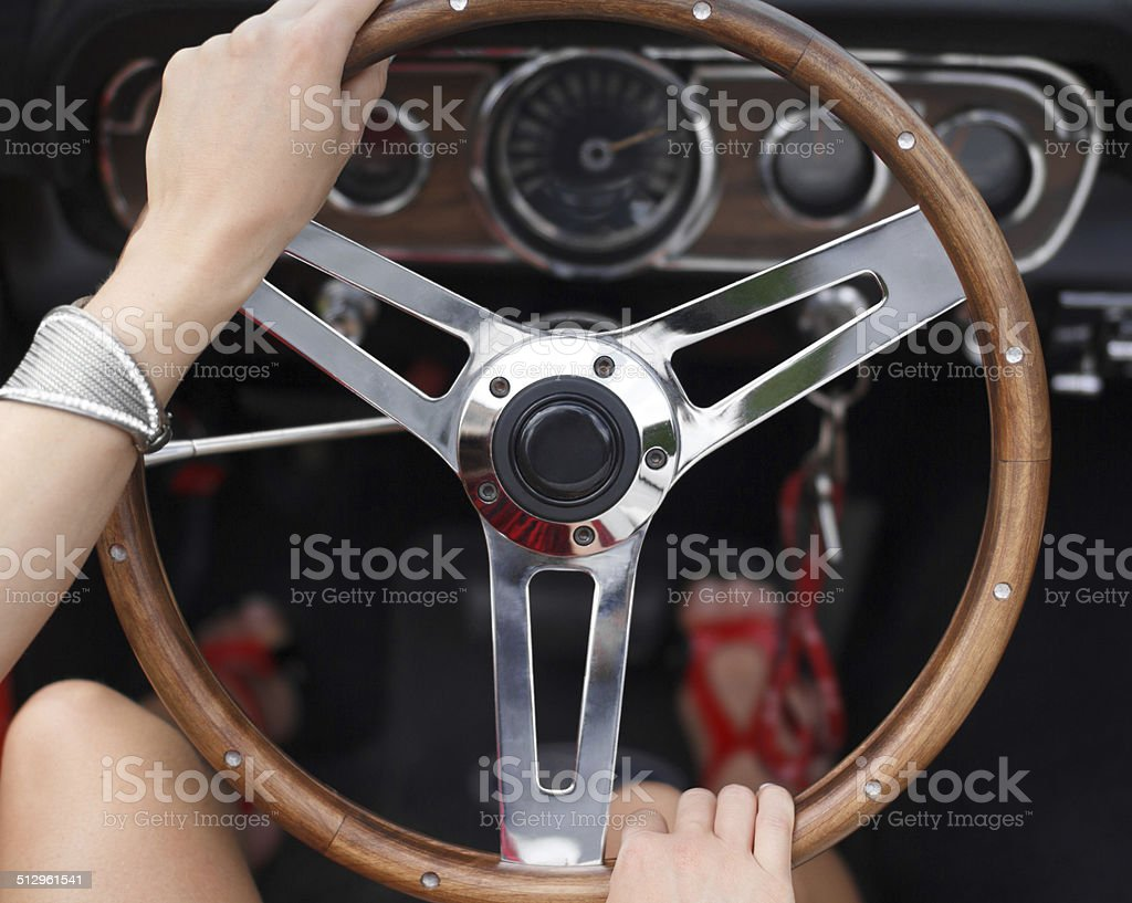 Woman driving fast royalty-free stock photo