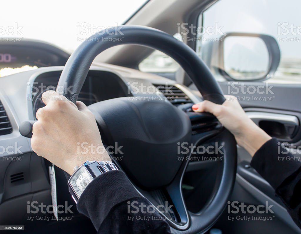 Woman Driving The Car stock photo