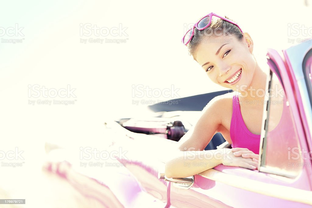 Woman driving vintage retro convertible car royalty-free stock photo