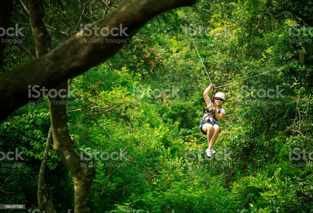 woman during a Canopy Tour Costa Rica stock photo