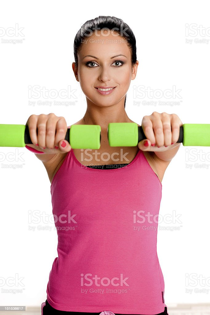 Woman during fitness exercise royalty-free stock photo