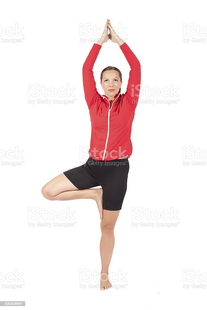 woman during yoga stock photo