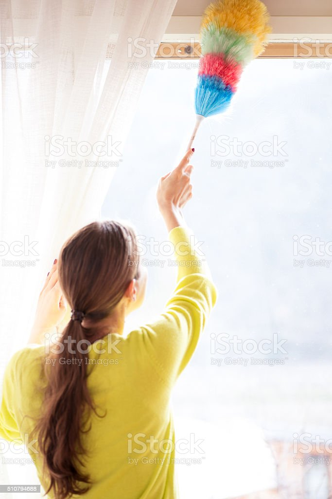 Woman Dusting Windows, Rear View stock photo