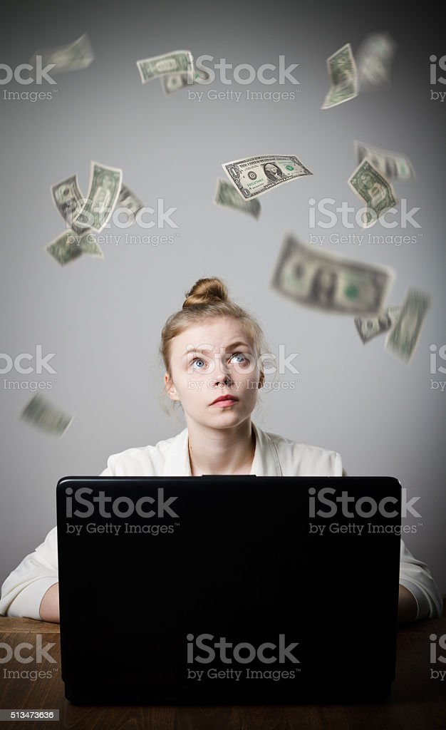 Woman earns dollars on the internet stock photo
