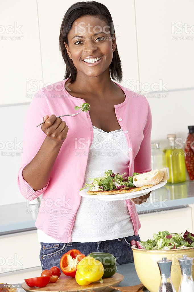 Woman Eating Meal royalty-free stock photo