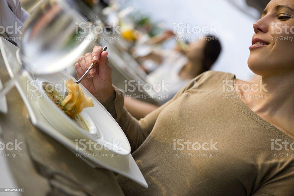 Woman eating royalty-free stock photo
