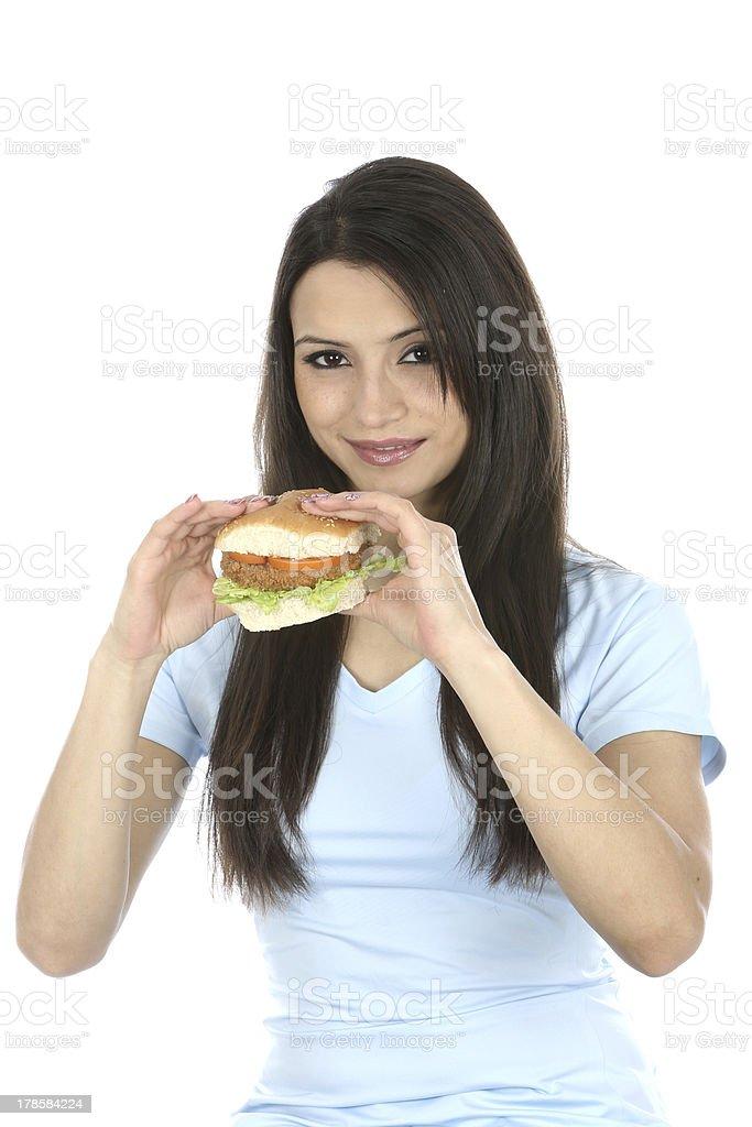 Woman Eating Vegetarian Bean Burger royalty-free stock photo