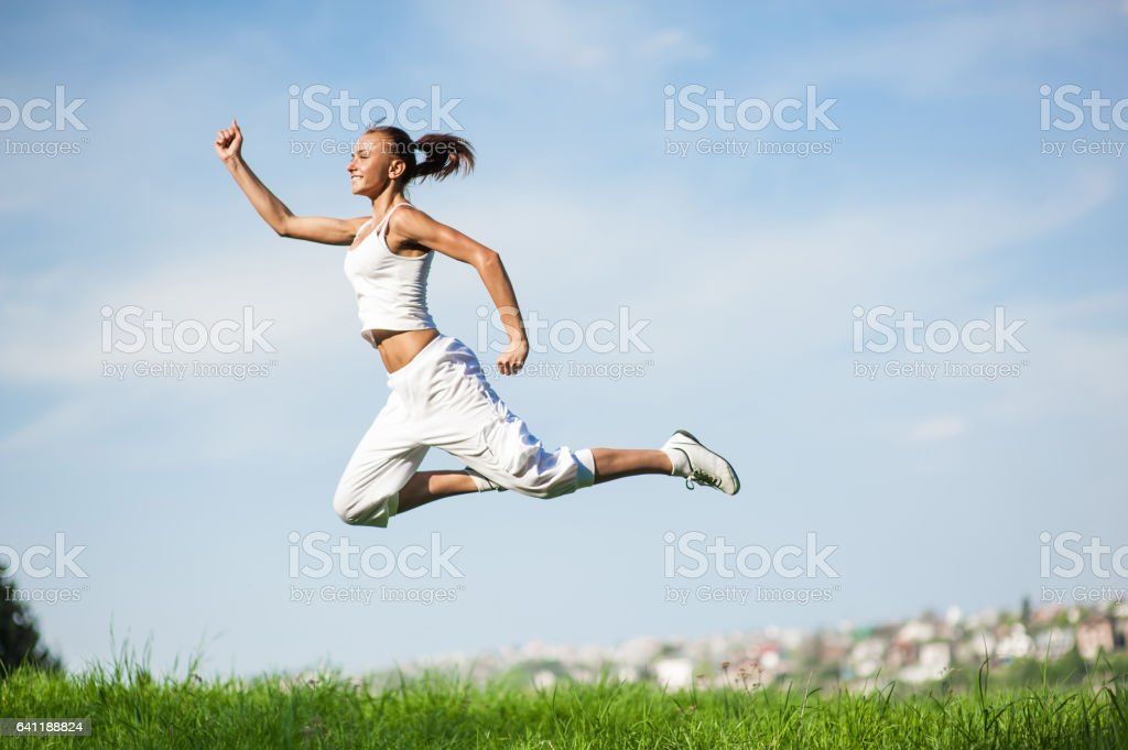 woman engaged in fitness stock photo
