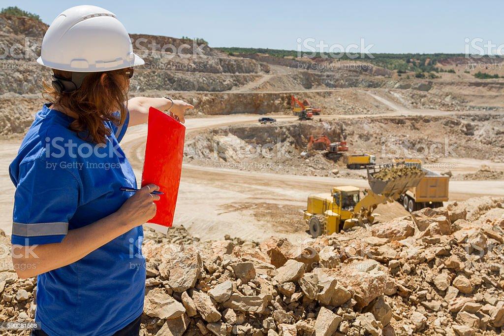 woman engineer at mine stock photo
