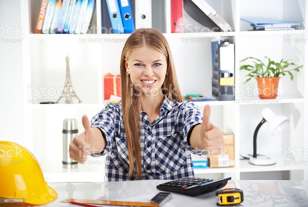 Woman engineer working in office stock photo