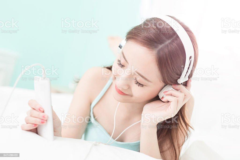 woman enjoy music stock photo