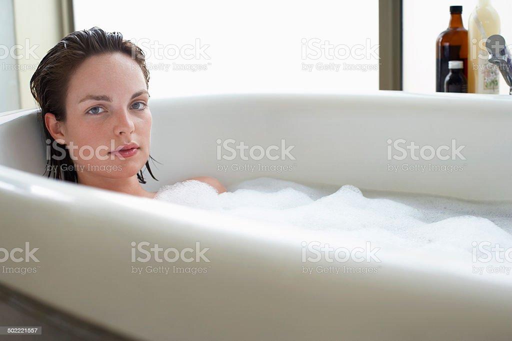 Woman Enjoying a Bath stock photo