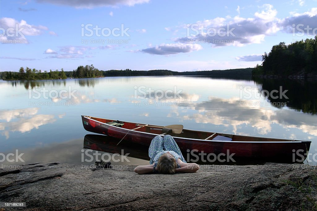 Woman enjoying a moment of serenity stock photo