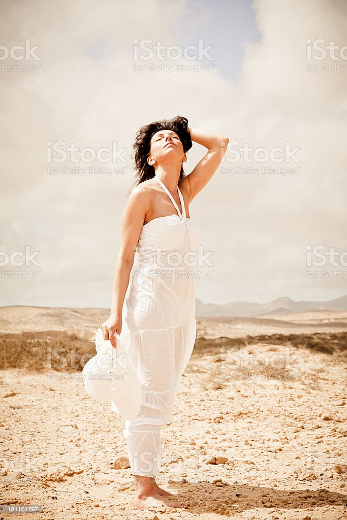 Woman enjoying a sunny day royalty-free stock photo