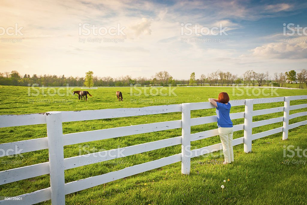 Woman enjoying countryside view. stock photo