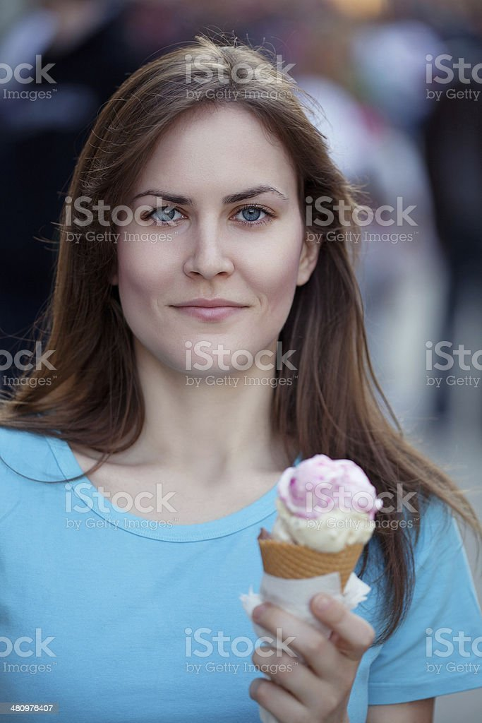 Woman Enjoying Ice Cream stock photo