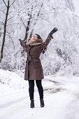 Woman enjoying in winter day