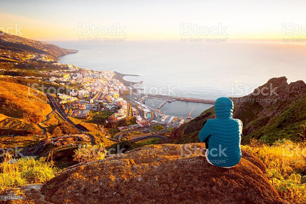 Woman enjoying landscape view near Santa Cruz city stock photo