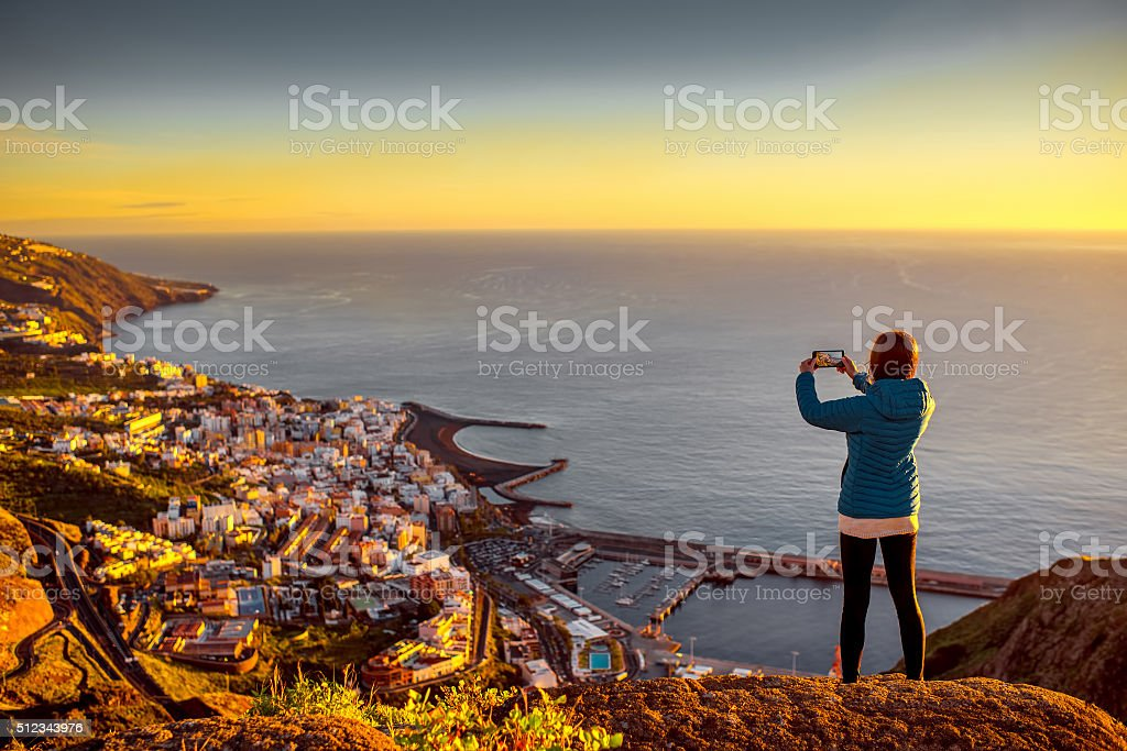 Woman enjoying landscape view near Santa Cruz city stock photo