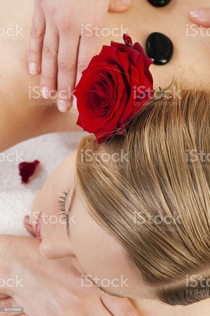 Woman enjoying Massage royalty-free stock photo