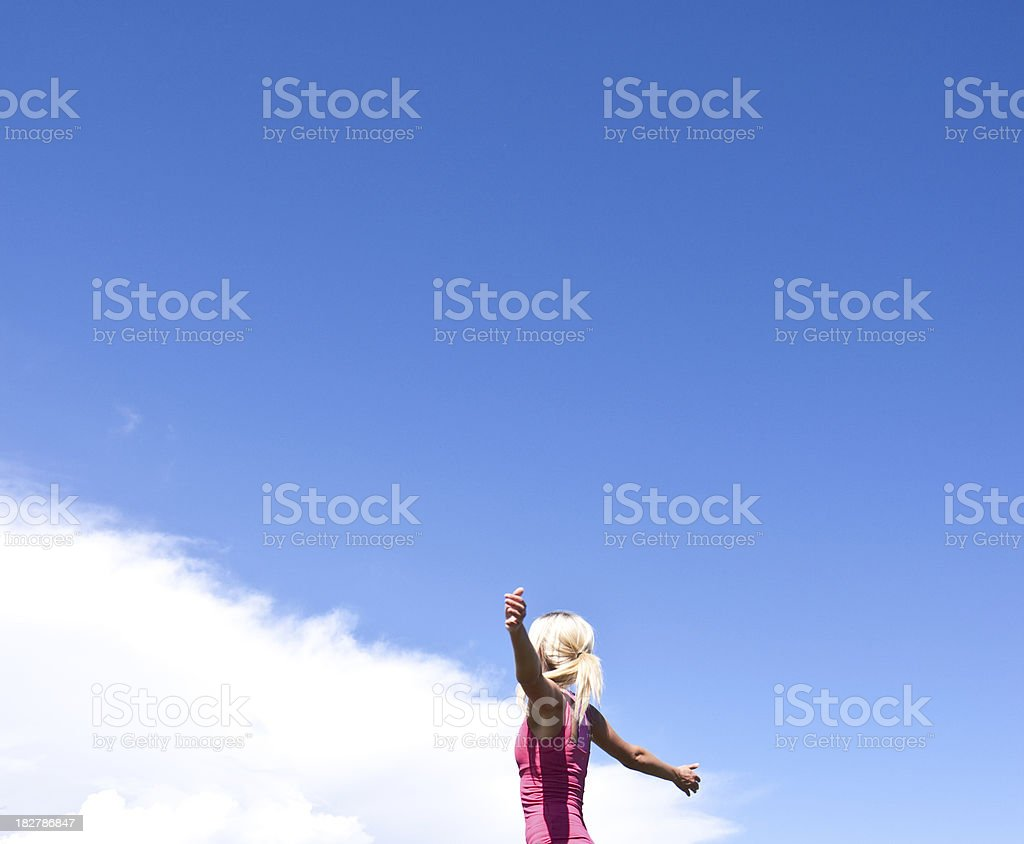 Woman enjoying nature royalty-free stock photo
