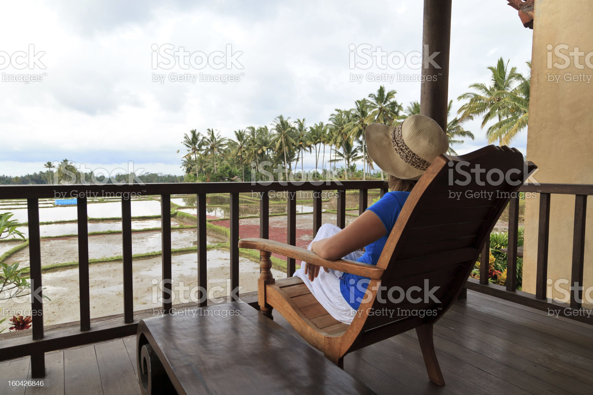 woman enjoying rice fields of Bali royalty-free stock photo