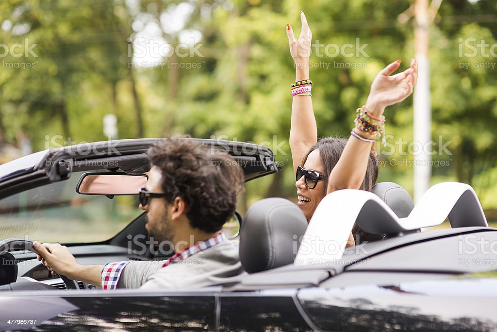 Woman enjoying road trip royalty-free stock photo