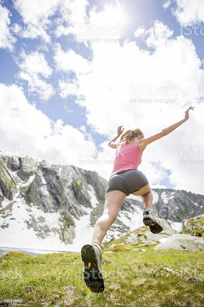 Woman enjoying sport in summer stock photo