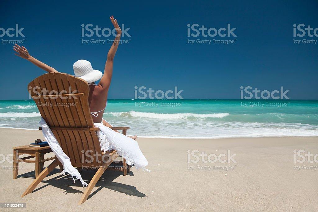 woman enjoying the beach royalty-free stock photo