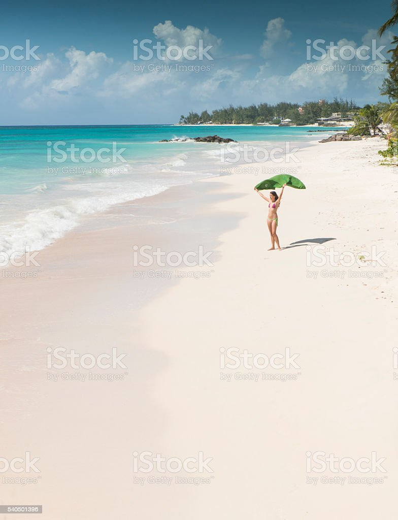 Woman enjoying the breeze in Barbados royalty-free stock photo