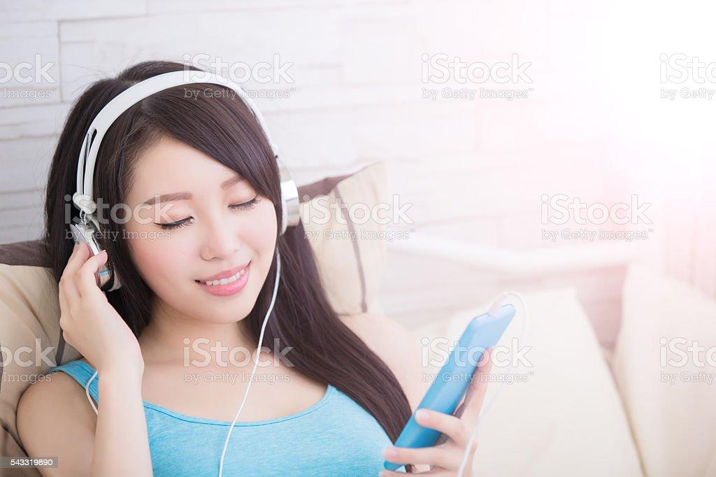 woman enjoying the music stock photo
