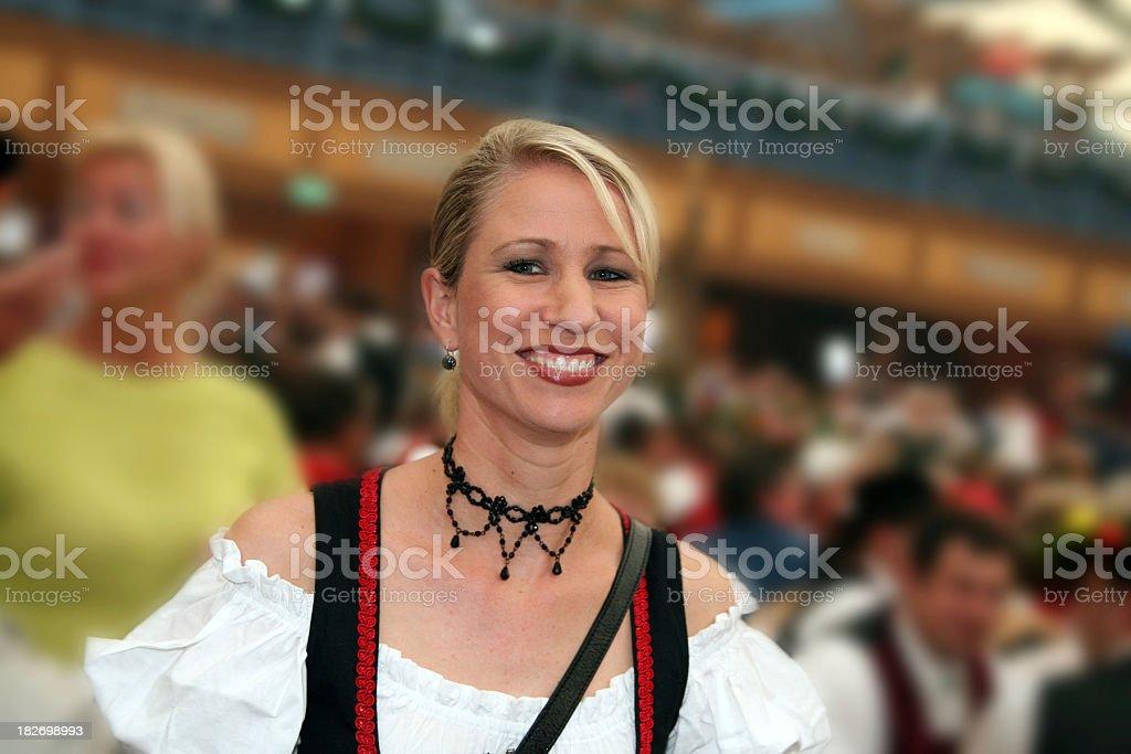 Woman enjoying the Octoberfest royalty-free stock photo