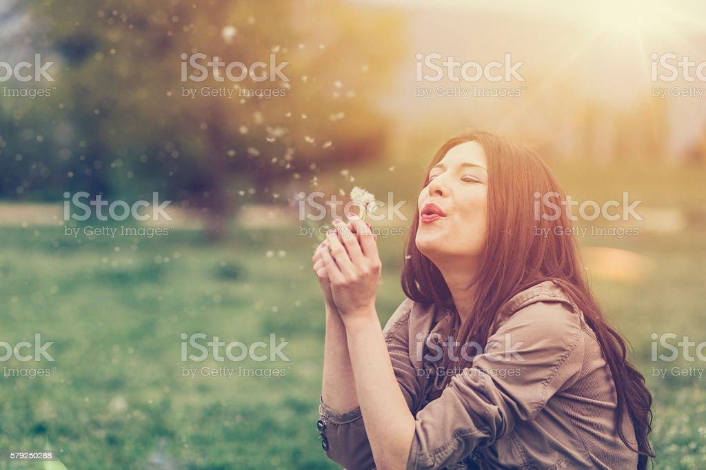 Woman enjoying the summer stock photo