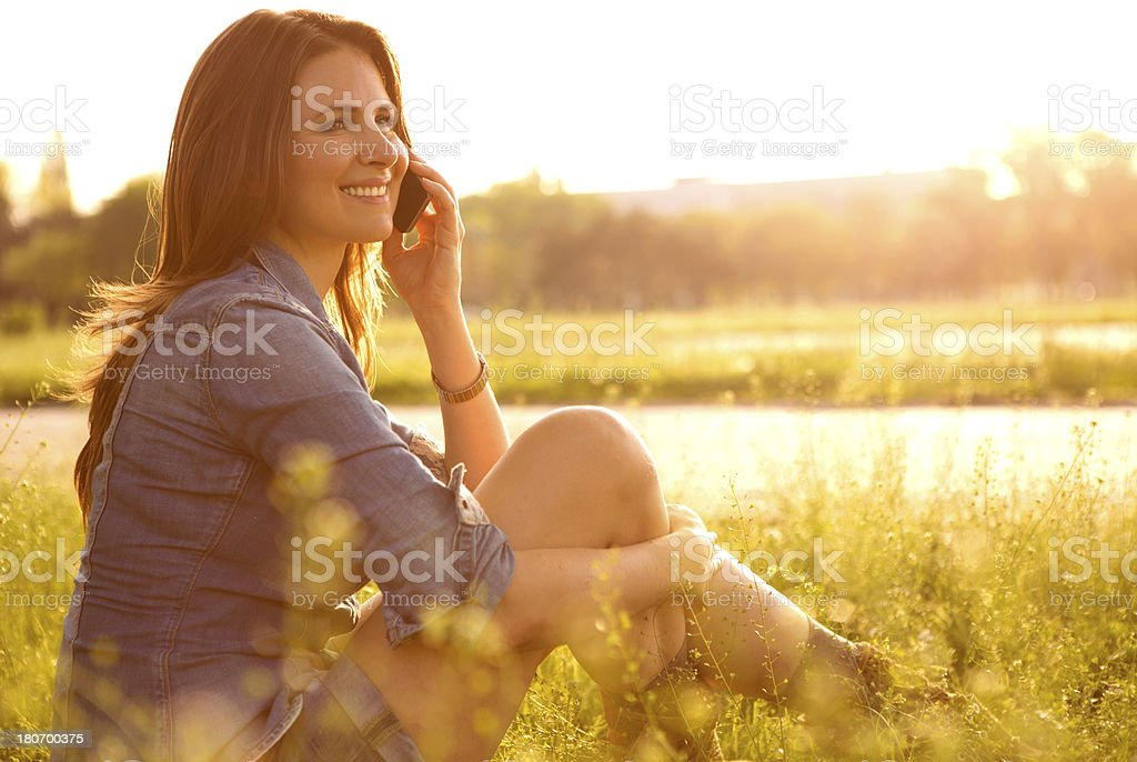 Woman enjoying the sun. royalty-free stock photo