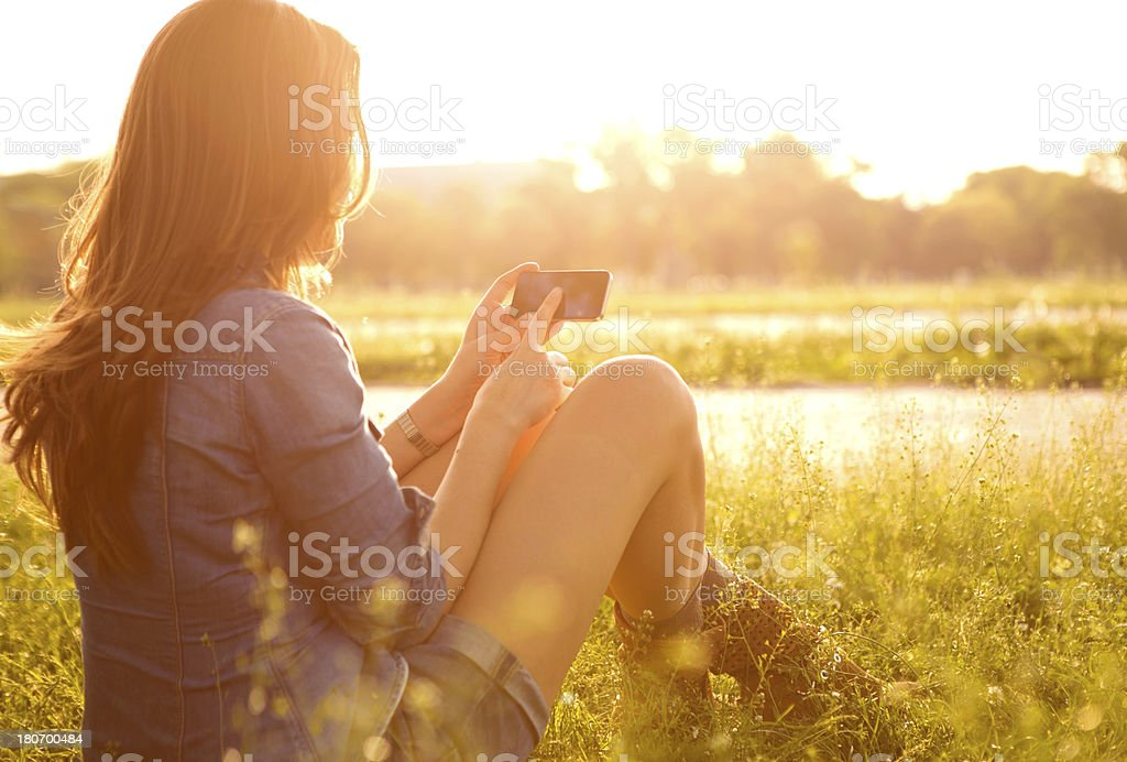 Woman enjoying the sun. royalty-free stock photo
