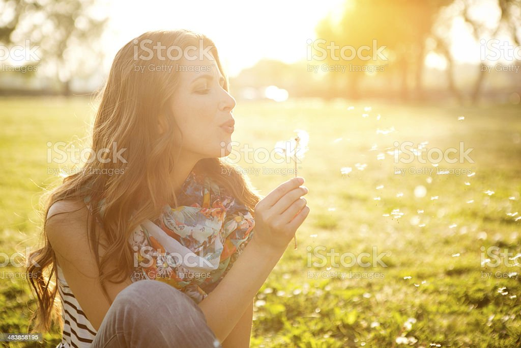 Woman enjoying the sun. stock photo