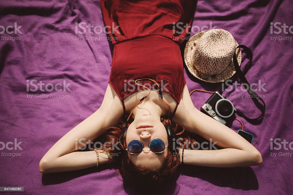 Woman Enjoying The Weather stock photo