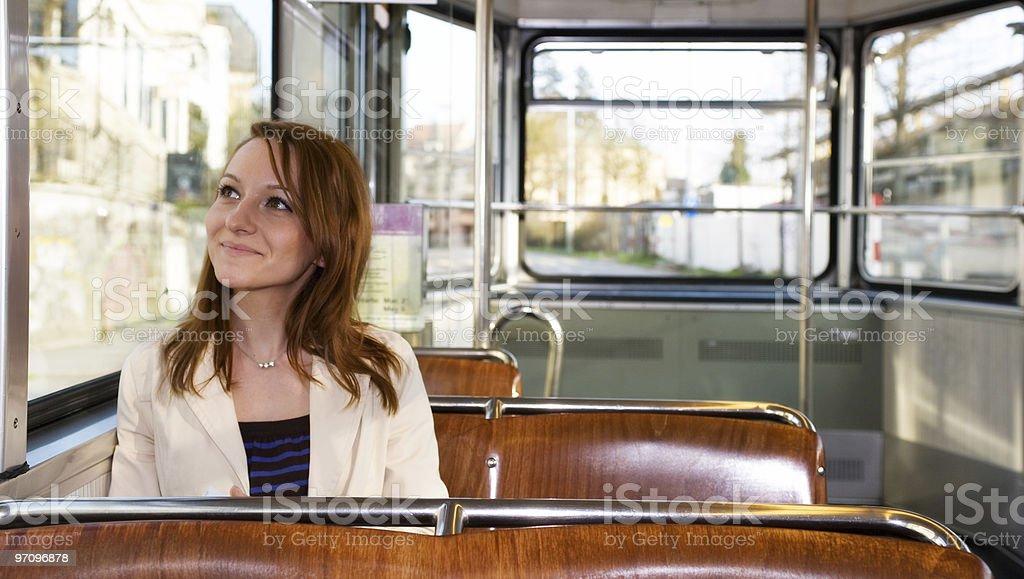 Woman Enjoying Tram Ride royalty-free stock photo