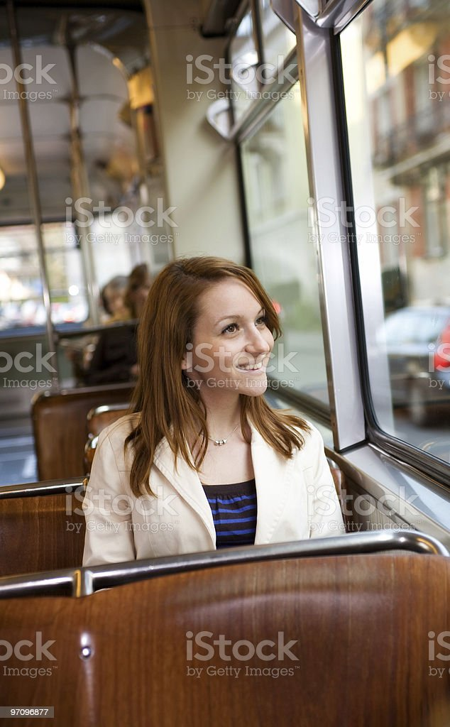 Woman Enjoying Tramride royalty-free stock photo