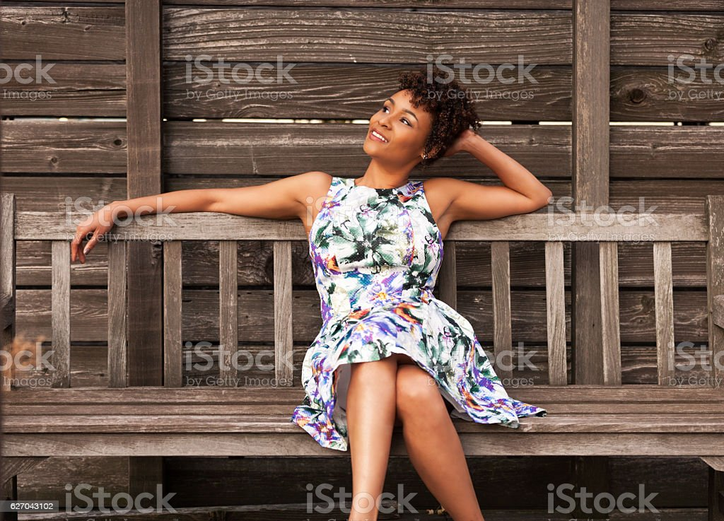 woman enjoying warm weather stock photo