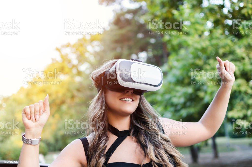 woman enjoying with VR stock photo