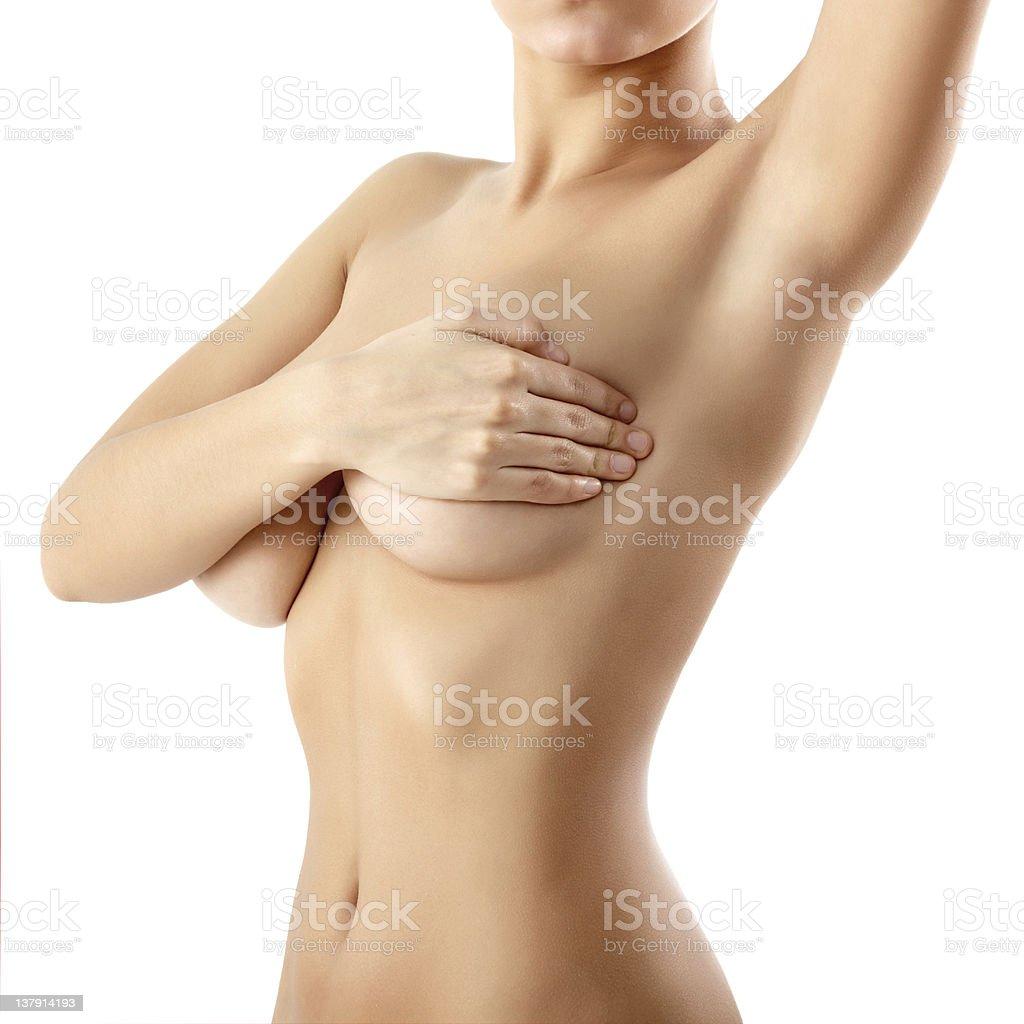 woman examining breast mastopathy or cancer royalty-free stock photo